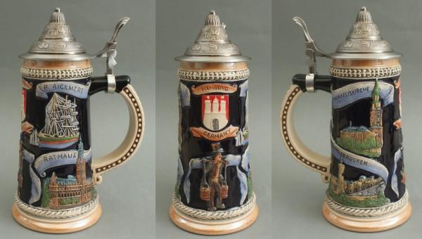 Bierkrug Hamburg Hummel groß mit Zinndeckel Bierhumpen Bierseidel Souvenir
