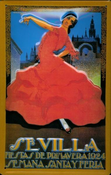 Blechschild Nostalgieschild Sevilla Tänzerin rotes Kleid Spanien