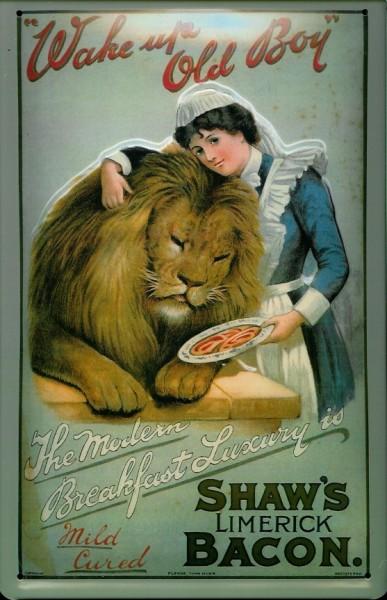 Blechschild Shaw Bacon Löwe Schinken Wurst Retro Schild Nostalgie Werbung