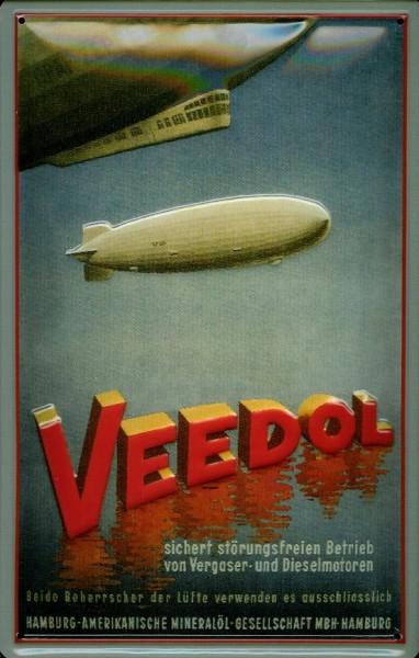 Blechschild Veedol Zeppelin Luftschiff Motorenöl Schild Nostalgieschild