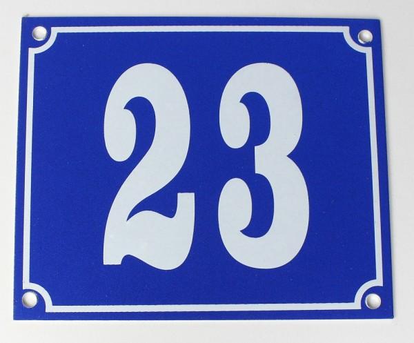 Hausnummernschild Aluminium Aluschild 1 mm Stärke Alu Schild Nr. 23 blau
