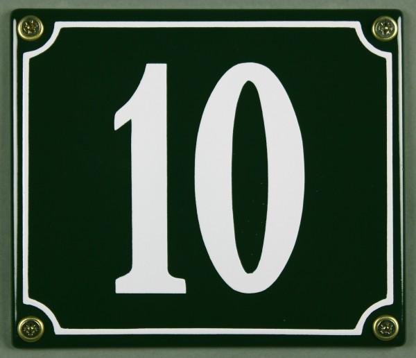 Hausnummernschild 10 grün 12x14 cm sofort lieferbar Schild Emaille Hausnummer Haus Nummer Zahl Ziffe