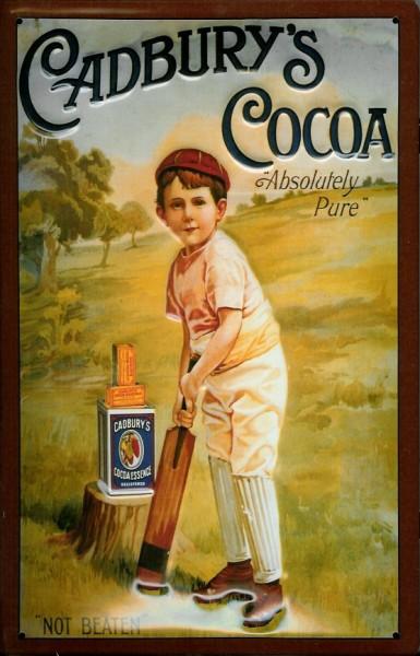 Blechschild Cadbury Cocoa Kakao Cricket Schokolade retro Werbeschild Schild