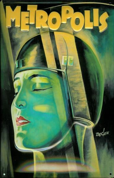 Blechschild Nostalgieschild Metropolis grün Frau Filmplakat