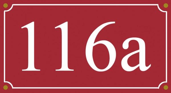 Emaille Hausnummernschild mit Wunschzahl Wunschtext Buchstaben 12x22 cm wetterfest
