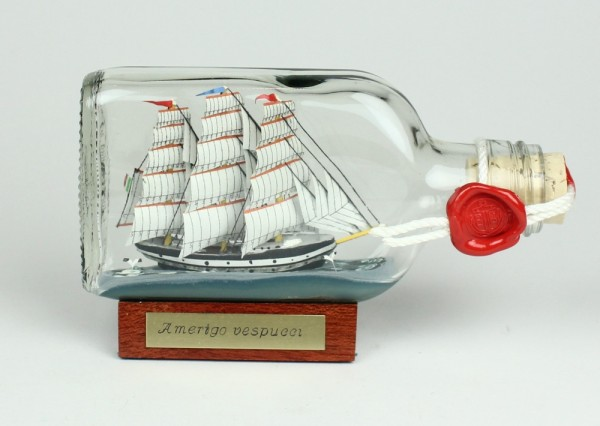 Amerigo Vespucci Buddelschiff Flachmann 0,1 Liter ca. 13x7 cm Buddel Schiff Flaschenschiff