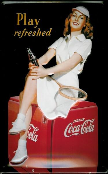 Blechschild Coca Cola Tennis play refreshed retro Schild Nostalgieschild