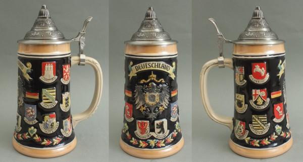Bierkrug Deutschland Adler und Bundesländer Wappen mit Zinndeckel Bierhumpen Souvenir