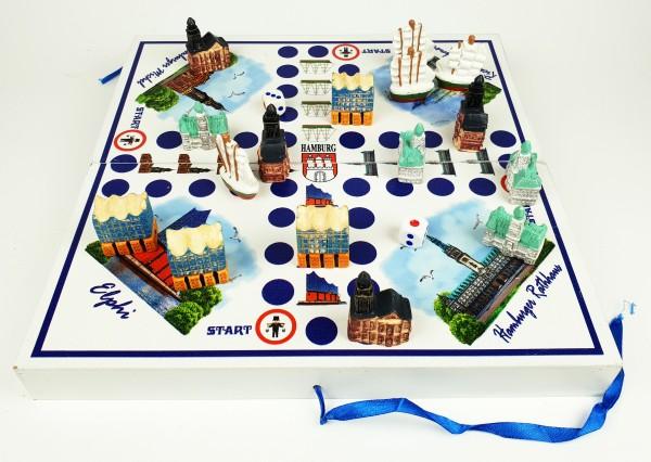 Hamburg Würfelspiel Brettspiel 2-4 Personen Gesellschaftsspiel Holz Rathaus Michel Schiff Elphi Figu
