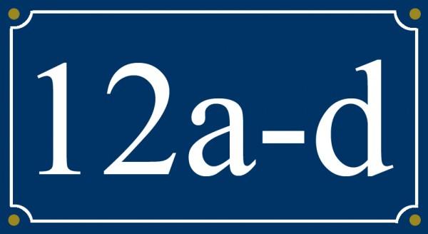 5-stelliges Wetterfestes Emaille Hausnummernschild mit Wunschzahl Wunschtext Buchstaben 26x12 cm