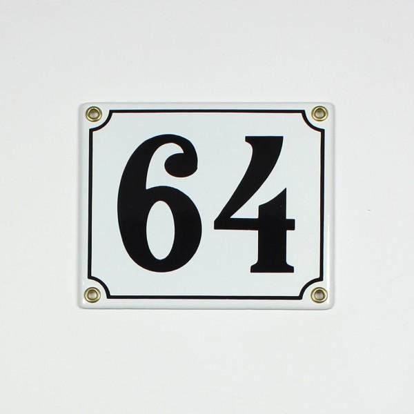 64 weiß Clarendon 14x12 cm sofort lieferbar 2-stellig Schild Emaille Hausnummer