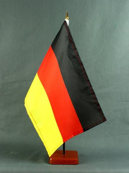 Tischflagge Deutschland 20x30 cm optional mit Tischflaggenständer aus Mahagoni Holz