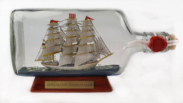 Schulschiff Deutschland Buddelschiff 375 ml Flachmann ca. 21x9 cm Buddelschiff Museumsqualität