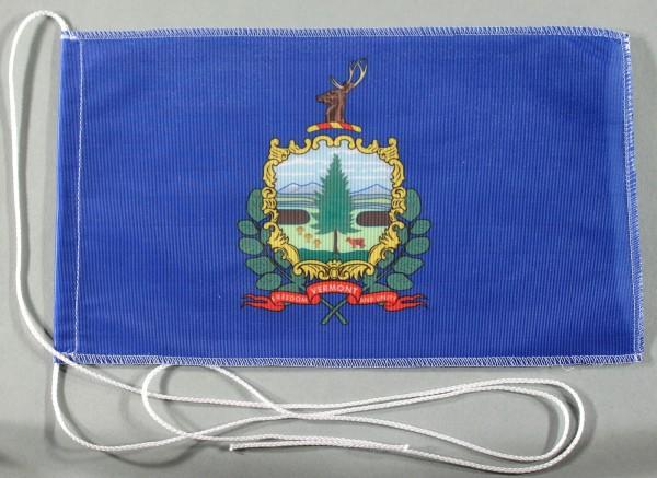 Tischflagge Vermont USA Bundesstaat US State 25x15 cm optional mit Holz- oder Chromständer Tischfahn