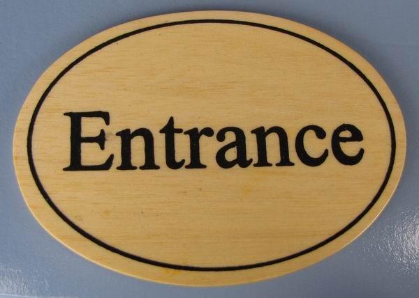 Ovales Holz - Türschild Entrance 7x10 cm helles Holzschild