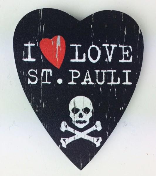 Herz Magnet Holz I Love St. Pauli Totenkopf Herzmagnet Holzmagnet