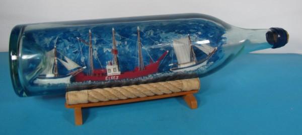 Buddelschiff Feuerschiff ELBE 3 in 3 Liter Flasche