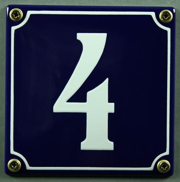 Hausnummernschild 4 blau - weiß 12x12 cm sofort lieferbar Schild Emaille Hausnummer Haus Nummer Zahl