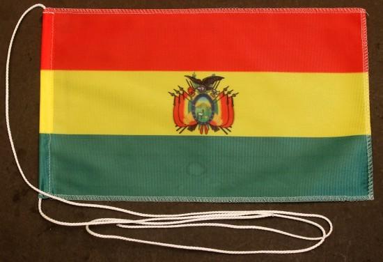 Tischflagge Bolivien 25x15 cm optional mit Holz- oder Chromständer Tischfahne Tischfähnchen