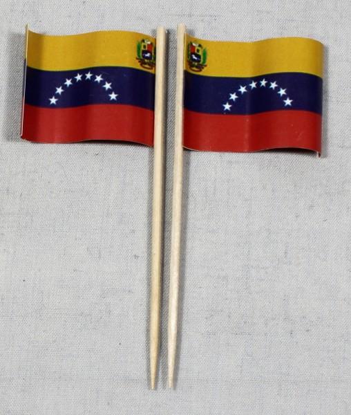 Party-Picker Flagge Venezuela Papierfähnchen in Spitzenqualität 50 Stück Beutel