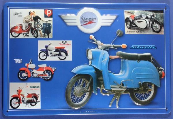 Blechschild Simson DDR Ostalgie Ostprodukt Motorrad Nostalgieschild Schild