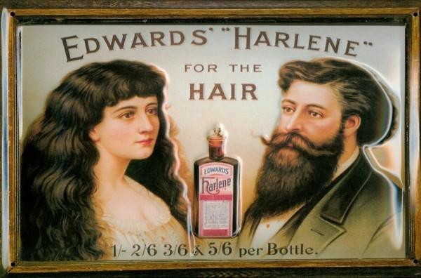 Blechschild Edwards Harlene for the Hair Haarwasser Schild retro Werbeschild Nostalgieschild