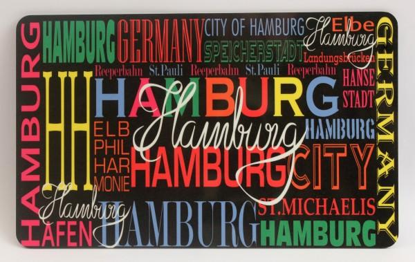 Frühstücksbrett Hamburg bunt Brettchen Frühstück Brett 23,5 x 14,3 x 0,2 cm