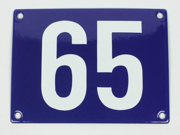 65 Ohne Rahmen blau Blockschrift 12x18 cm sofort lieferbar Schild Emaille Hausnummer