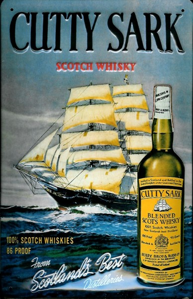 Blechschild Cutty Sark Scotch Whisky Segelschiff Schild retro Nostalgie Werbeschild