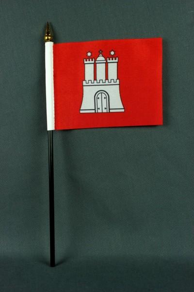 Kleine Tischflagge Hamburg 10x15 cm optional mit Tischfähnchenständer