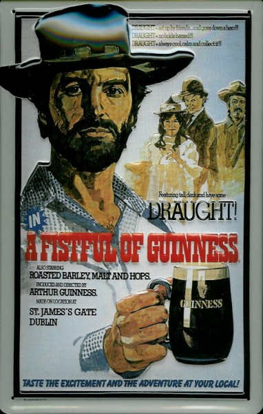 Blechschild Guinness Beer a fistful draught Cowboy Bier nostalgisches Schild