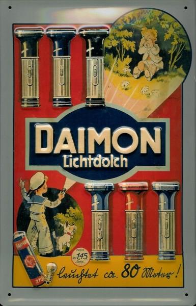 Blechschild Daimon Batterien Taschenlampe Schild retro Werbeschild Nostalgieschild