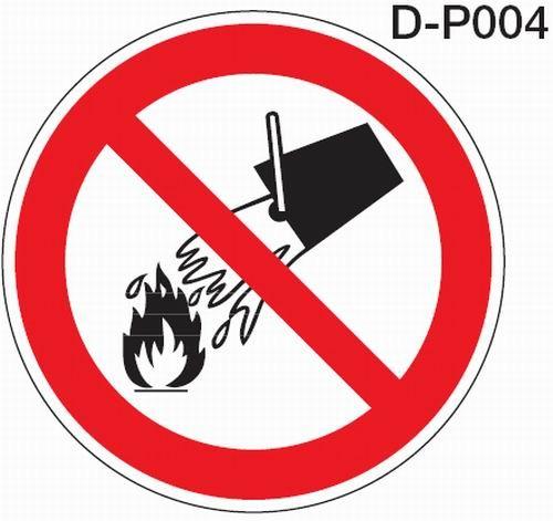 Aluminium Verbotsschild D-P004 rund Mit Wasser löschen verboten verschiedene Größen 0,6 mm Alu