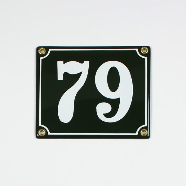 79 grün Clarendon 14x12 cm sofort lieferbar 2-stellig Schild Emaille Hausnummer