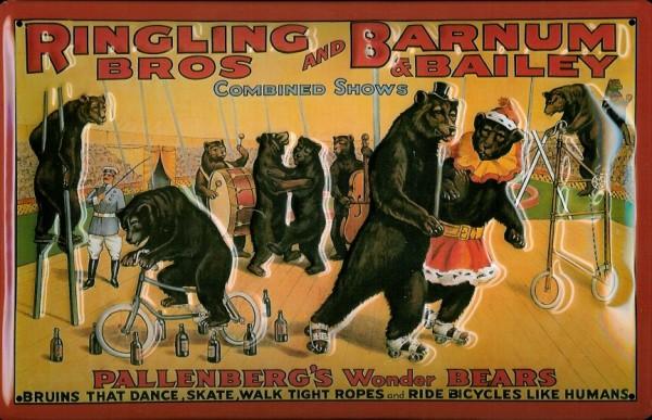 Blechschild Nostalgieschild Ringling Brothers Zirkus Bären