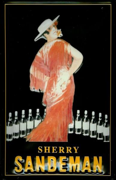 Blechschild Sandeman Sherry Frau rotes Kleid retro Schild Nostagieschild