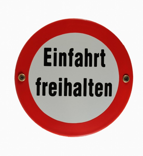 Emaille Schild Einfahrt freihalten Emaileschild Verkehrsschild Verkehrszeichen Emailleschild Verbots