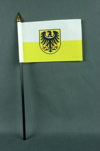 Kleine Tischflagge Niederschlesien 10x15 cm optional mit Tischfähnchenständer