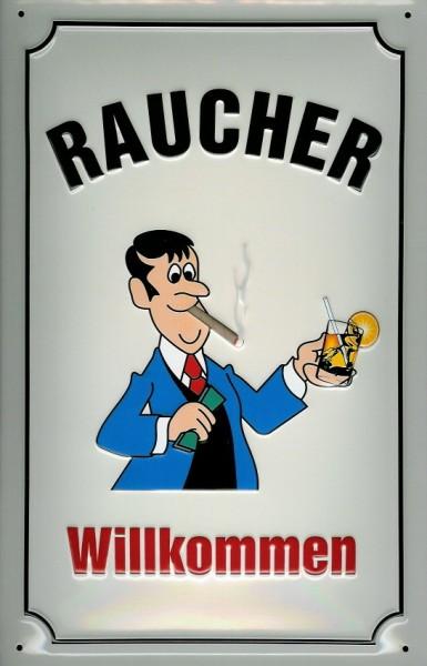 Blechschild Nostalgieschild Raucher Willkommen Schild Hinweisschild Funschild