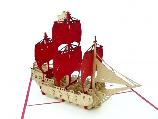 3D Pop-Up Karte Piratenschiff rot
