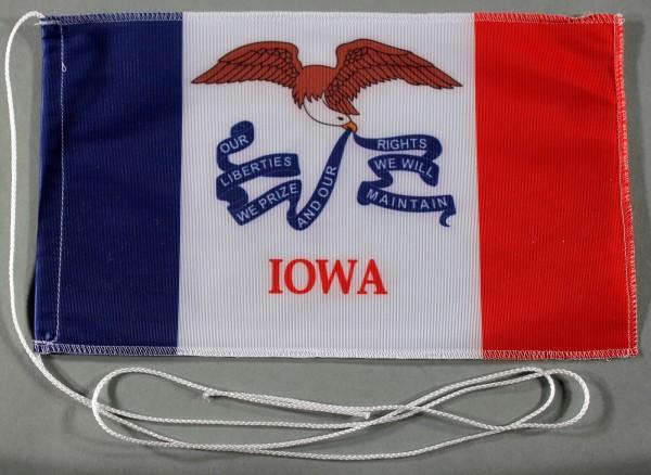 Tischflagge Iowa USA Bundesstaat US State 25x15 cm optional mit Holz- oder Chromständer Tischfahne T