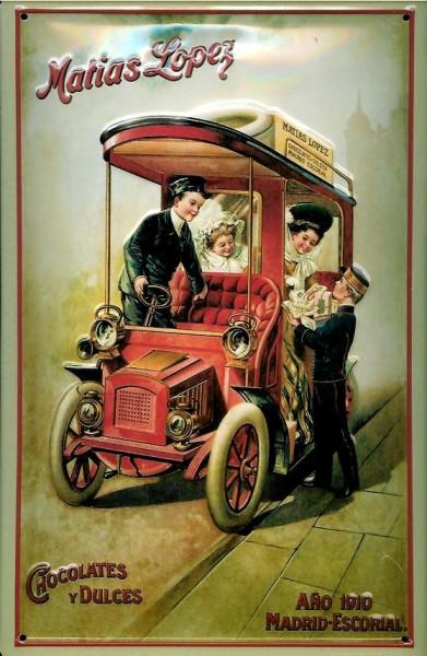 Blechschild Lopez Chocolates Oldtimer Auto Lieferwagen Schokolade Schild retro Werbeschild