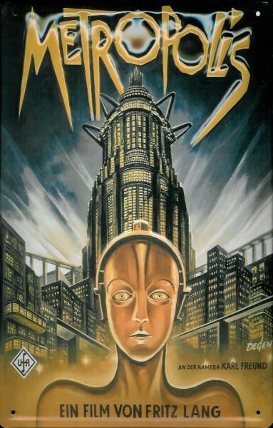 Blechschild Nostalgieschild Metropolis gold Fritz Lang Filmplakat
