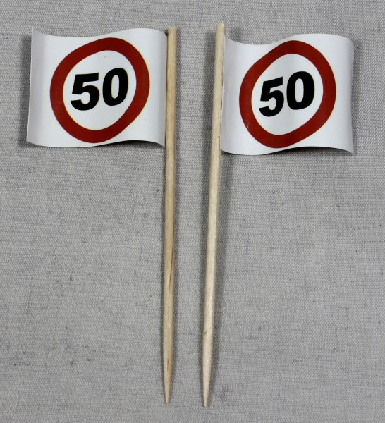 Party-Picker Flagge Tempo 50 Verkehrszeichen Papierfähnchen in Spitzenqualität 50 Stück Beutel