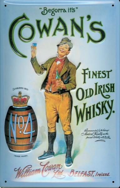 Blechschild Cowan s irish Whisky Belfast retro Schild Nostalgie Werbeschild