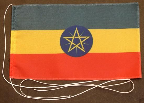 Tischflagge Aethiopien Äthiopien 25x15 cm optional mit Holz- oder Chromständer Tischfahne Tischfähnc