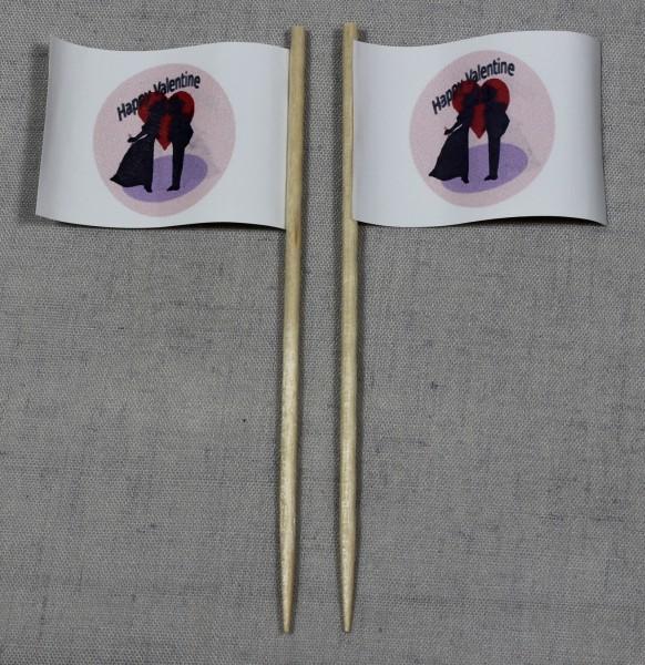 Party-Picker Flagge Valentinstag Happy Valentine Papierfähnchen in Spitzenqualität 50 Stück Beutel