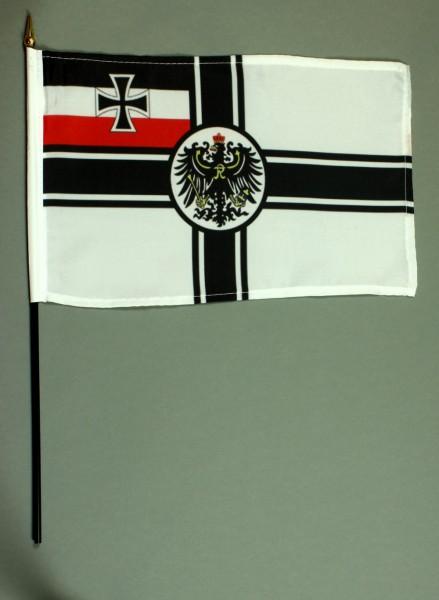 Tischflagge Kaiserliche Marine 20x30 cm optional mit Tischflaggenständer aus Mahagoni Holz