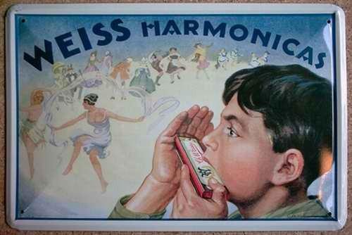 Blechschild Nostalgieschild : Harmonicas - Weiss Mundharmonika