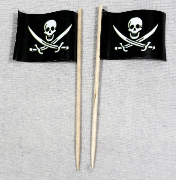Party-Picker Flagge Pirat (3) Papierfähnchen in Spitzenqualität 50 Stück Beutel